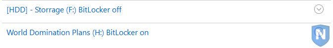BitLocker volumes listed